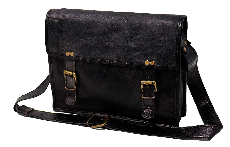 4b2c4b563 Get Quotations · Jaald genuine Leather Messenger Bag Laptop Briefcase Satchel  Mens shoulder Bag black