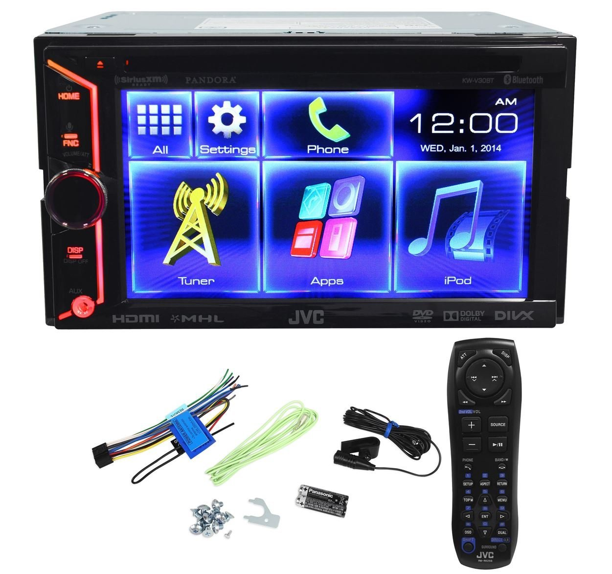 Get Quotations JVC KW V30BT Double Din In Dash Car DVD Monitor Receiver With A 61