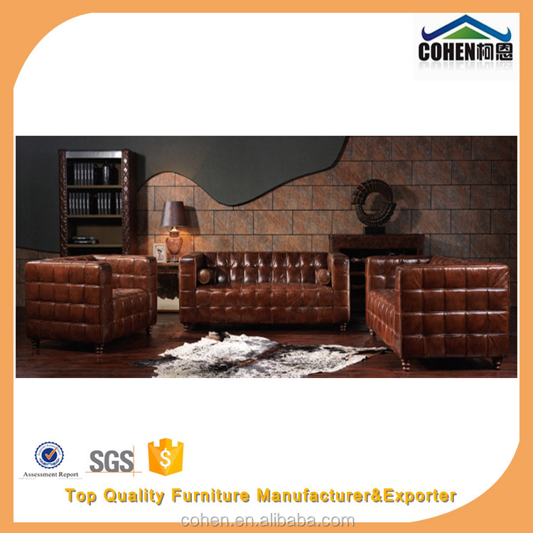 2016 Hot Sale Design Europe Style Brown Vintage Leather Josef Hoffmann Cubus Sofa