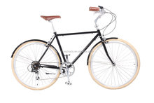 2015 new model design for man steel frame bicycle 7 speed vintage city bike road bike