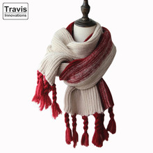 Winter Thick Warm Woolen Yarn Knitted Acrylic Scarf With Tassels