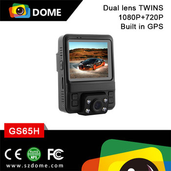 Dual lens FHD car video recorder Built in GPS GS65H from DOME