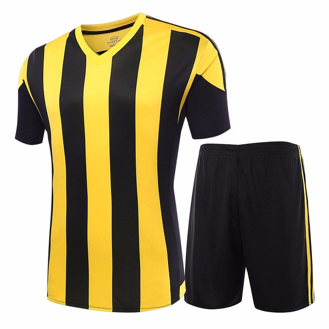 Whole 17 18 Men s Soccer Jerseys Striped Blank Training Set Uniform Plain  Football Suits Can Customize cd7ea276d
