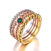 JewelryPalace 925 Sterling Silver jewelry Emerald 3 Tone 4 Rope Band Stackable Ring Set Fashion Design Fine Jewelry