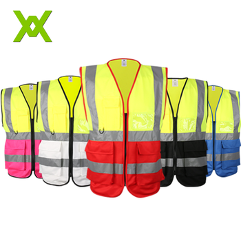 Custom chalecos de seguridad high visibility reflective safety vest with pocket