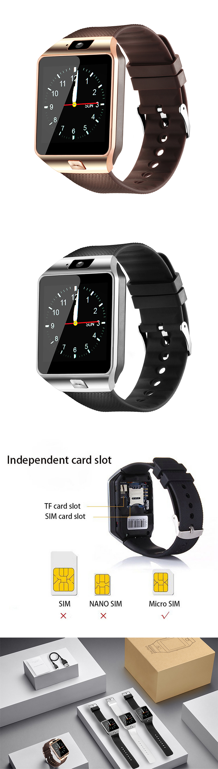 4$ SIM Card U8 GT08 / A1 / Q18 / Q50 / DZ09 smart watch phone for Android IOS with Camera WristWatch Smartwatch