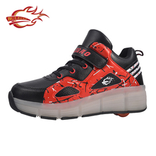 OEM Kids TPR outsole sports running led light shoes with wheels