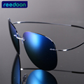 Luxury Ultra light Flexible Pure Titanium Rimless Mirror Polarized Sunglasses Eyeglasses Eyewear Unisex Oculos de sol