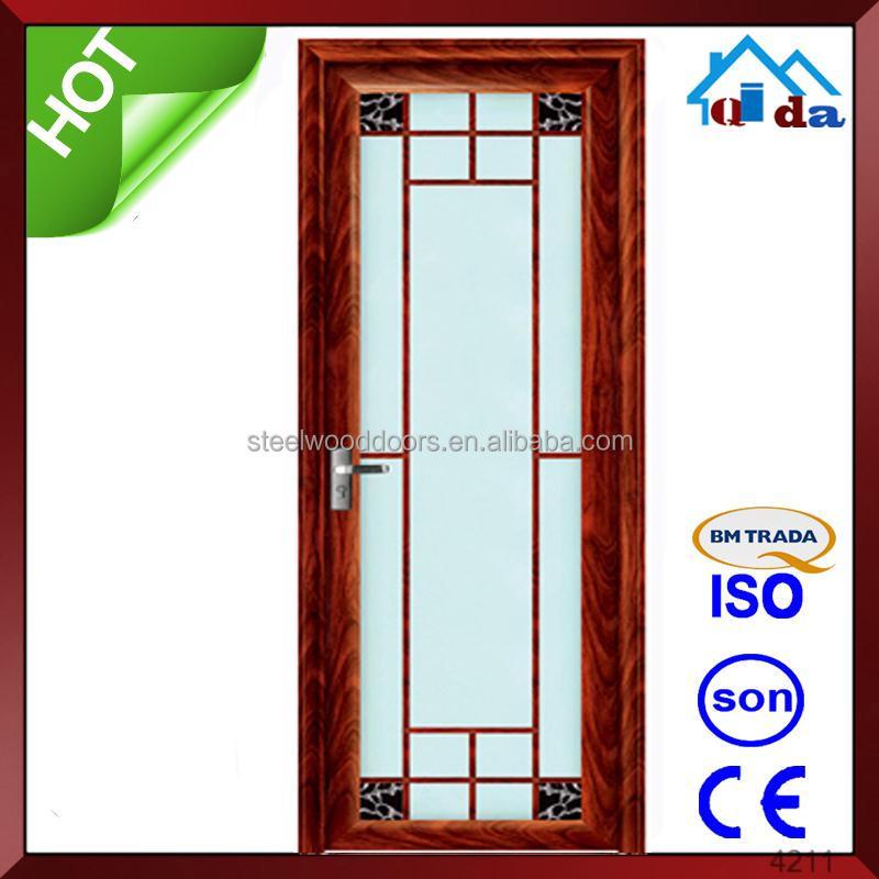 vidrio de aluminio diseo de la puerta interior puerta de cristal para el dormitorio doble hoja