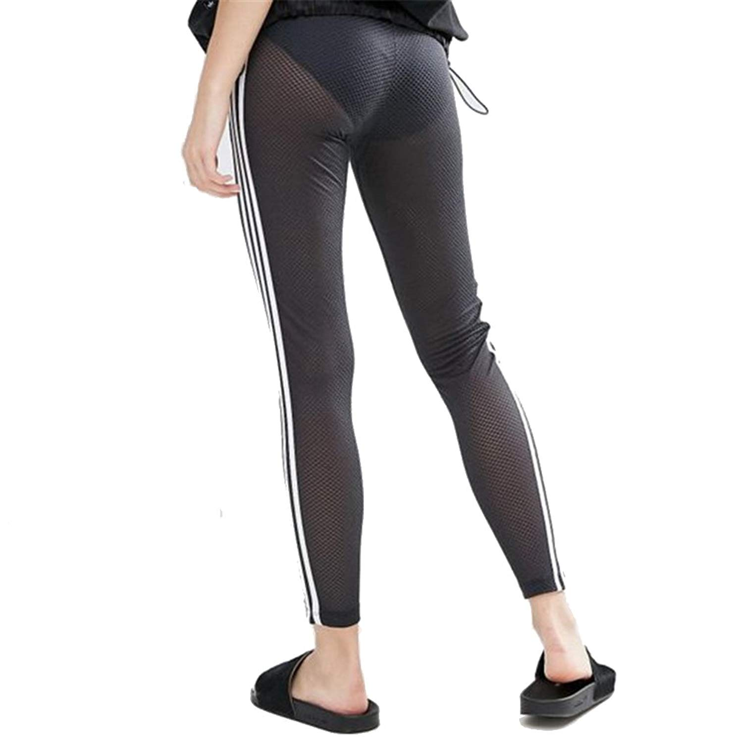 d28c450dd63450 Get Quotations · Sexy Hollow Out Cut Yoga Leggings White Stripes Side Yoga  Pants High Waisted Butt Lift Fitness