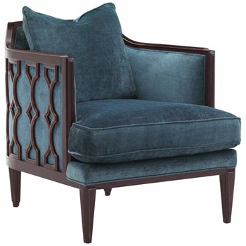 Caracole Wood Frame Upholstered Chair Traditional British Dark Wood ...