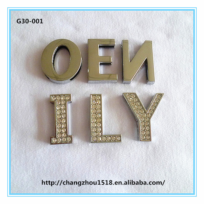 Wholesale large diy rhinestone alphabet letters 30mm slide letters