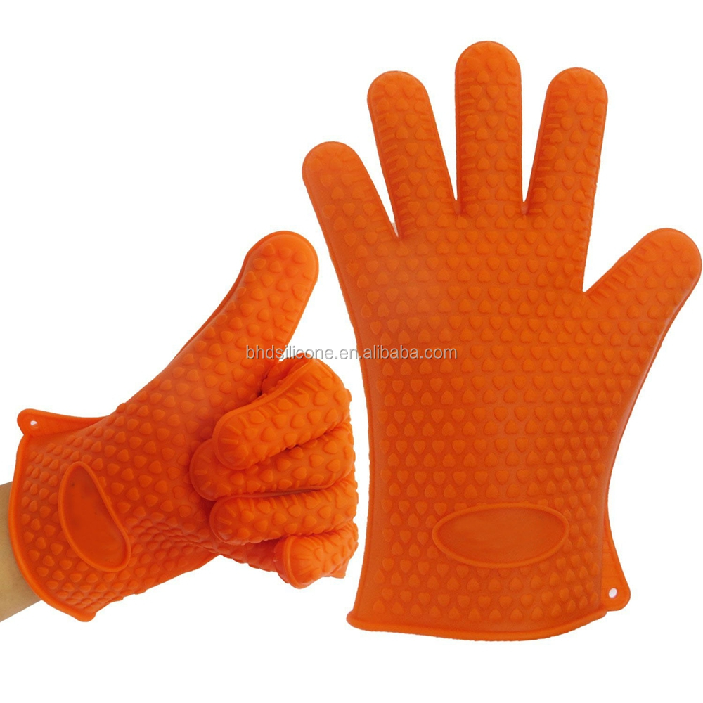 Durable Five Fingers BBQ Grilling Silicone Oven Mitt Gloves фото