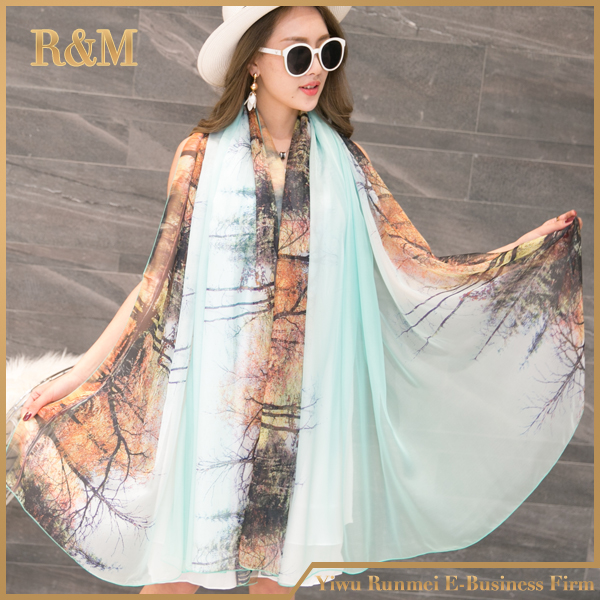 newest 2017 spring style silkscarf,ombre silk scarf