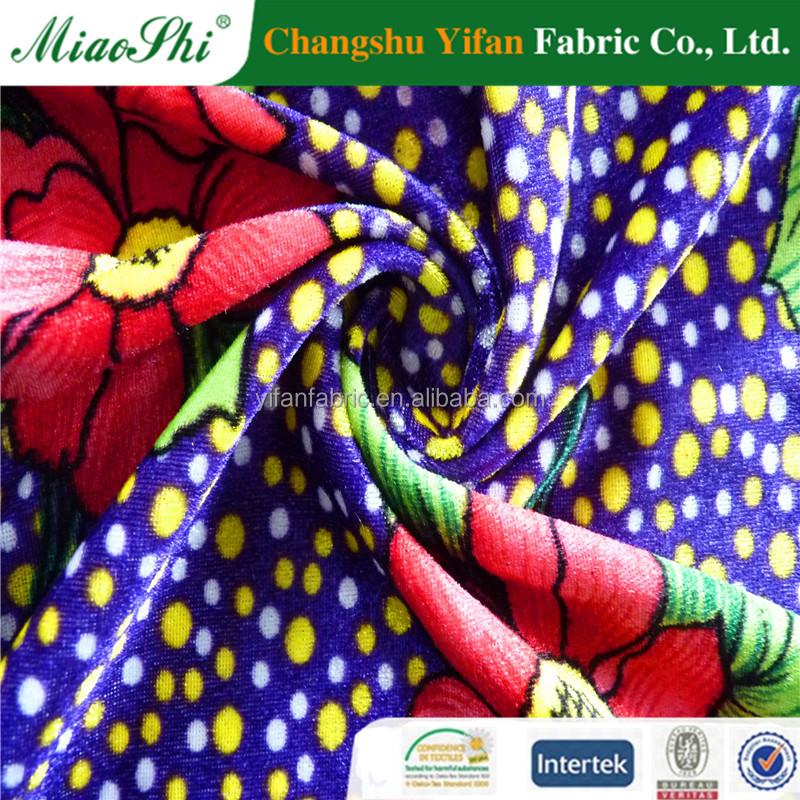 discount fabric women wear weft velvet printed fabric for matress or dress