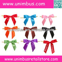 pre tied polyester satin ribbon bow with wire twist