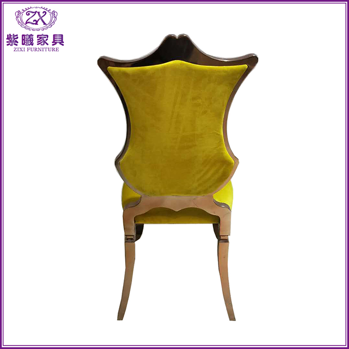 yellow fabric seating metal rose gold dining chairs with special high back design