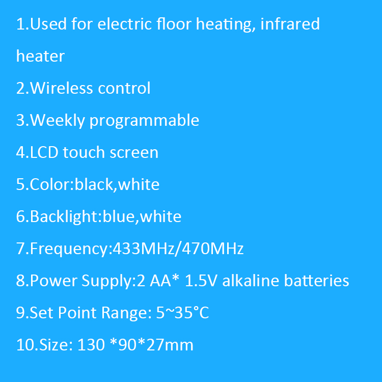 Underfloor Electric Heating Element Weekly Programmable Wireless Temperature Controller Thermostat