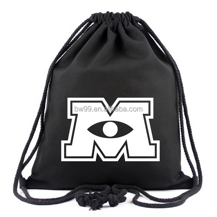 Low price special discount personalized black cotton drawstring bag