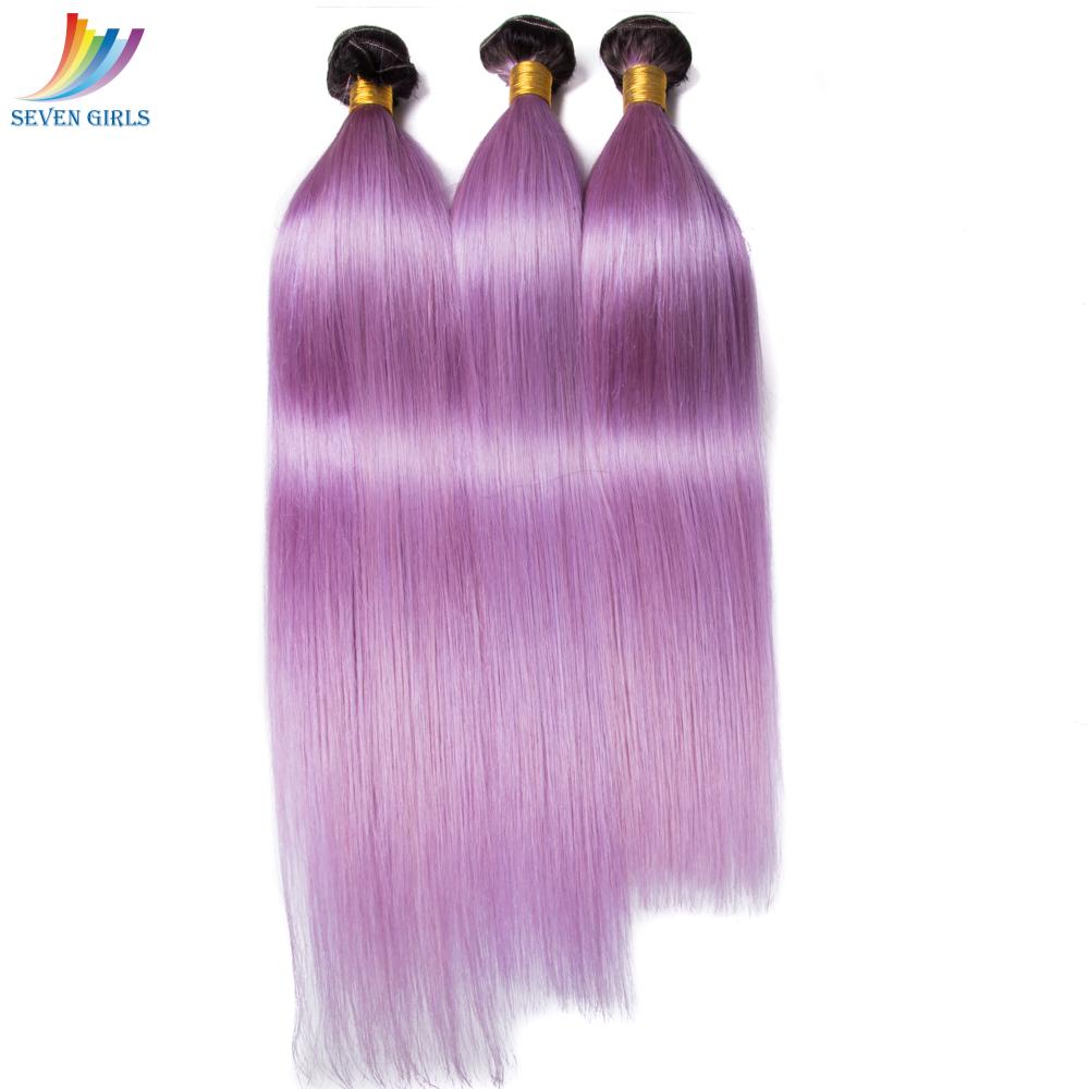 Ombre Purple Brazilian Straight Hair Weaving Bundles 1b T Purple