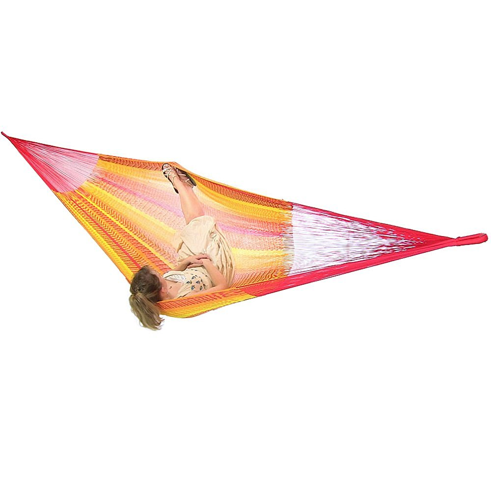 Sunnydaze Portable Hand-Woven 2-3 Person Mayan Hammock, Family Size, Tequila, 660 Pound Capacity