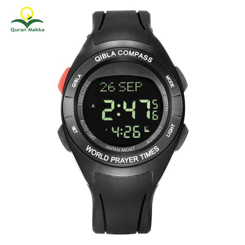 Factory Sale Alfajr Azan Watch Azan Muslim Black Watches Al fajr for Worldwide Prayer with Time Compass Alarm, Black silver