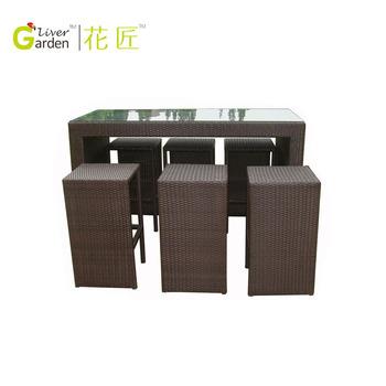 Rattan Bar High Table And Chair Wicker High Bar Tables