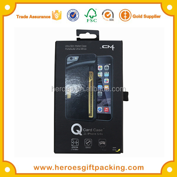Trade Assurance HG PVC Blister Holder Magnetic Paper Box With Hook For Mobile Phone Case Packaging