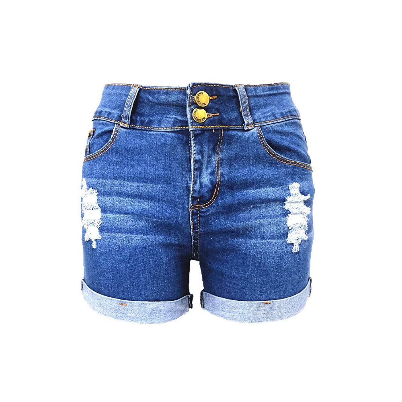 396ea22072 Get Quotations · Miraclelove Women's Juniors Slim Fit High Waisted Denim  Shorts Jean Shorts