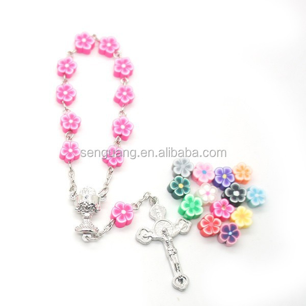 Hot sale ceramic beads rosary fashion bracelets and different color flower necklace