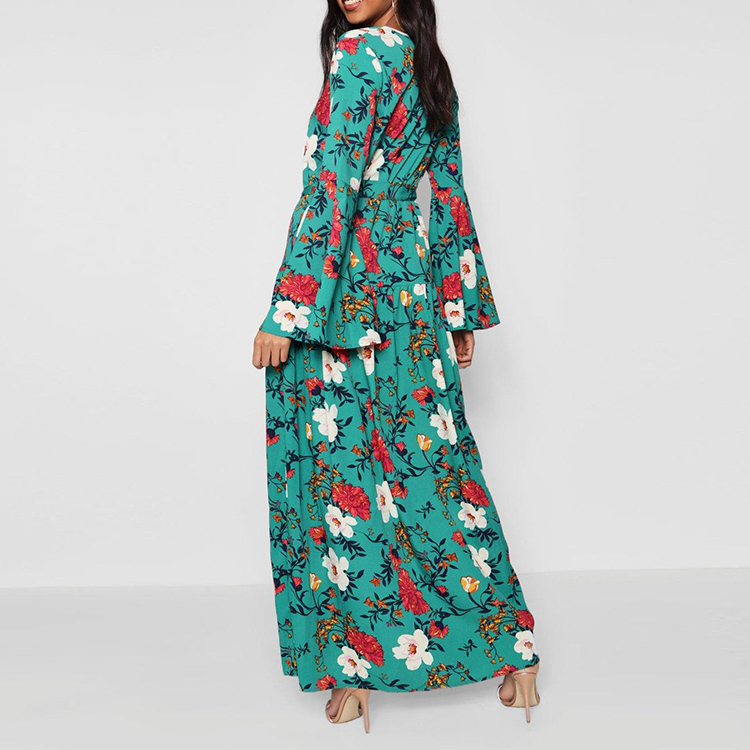 Factory manufacturer YILEYA women dress flowers ,ladies long sleeves dresses smart casual ,floral dress maxi