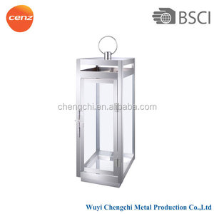 Hanging Outdoor And Indoor Decoration Glass Tube With Mirror Polished Stainless Steel Candle Lantern