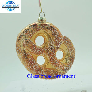 Artificial food hanging glass bread ornament unique items sell for Christmas decoration