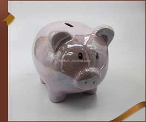 Factory direct wholesale ceramic pink large piggy bank for sale
