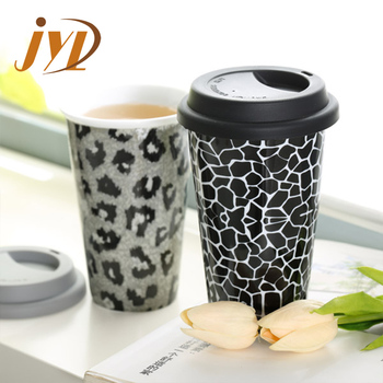 Manufacture low price OEM MOQ 500 2oz-22 oz animal design Ceramic Coffee Mug with Silicone Lid