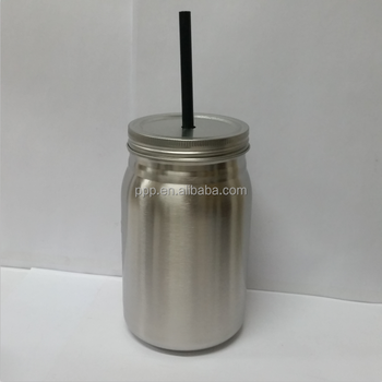 factory wholesale 24oz stainless steel mason jar/storage jar with a hole on lid/multiple choice for straw