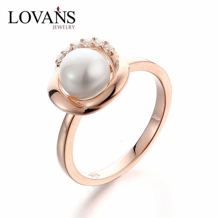 925 Silver New Design White Pearl Gold Ring Designs Engagement Finger Rings SRK009R