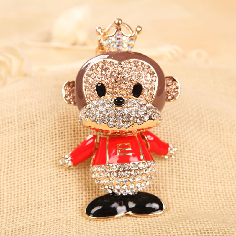 Nadasa The new super cute crown monkey car <strong>keys</strong> to South Korea full diamond creative <strong>Key</strong> Chain Pendant