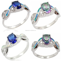 Ladies style Tanzanite Topaz Setted synthetic Opal Inlay 925 sterling Silver finger Ring jewelry design with white gold plated