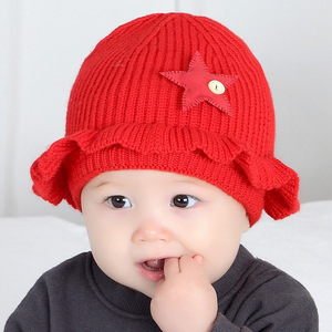 2e6003a1c9d High quality Soft Warm Star decoration Baby Beanie Wool Hats with pom poms  ball Cute Winter