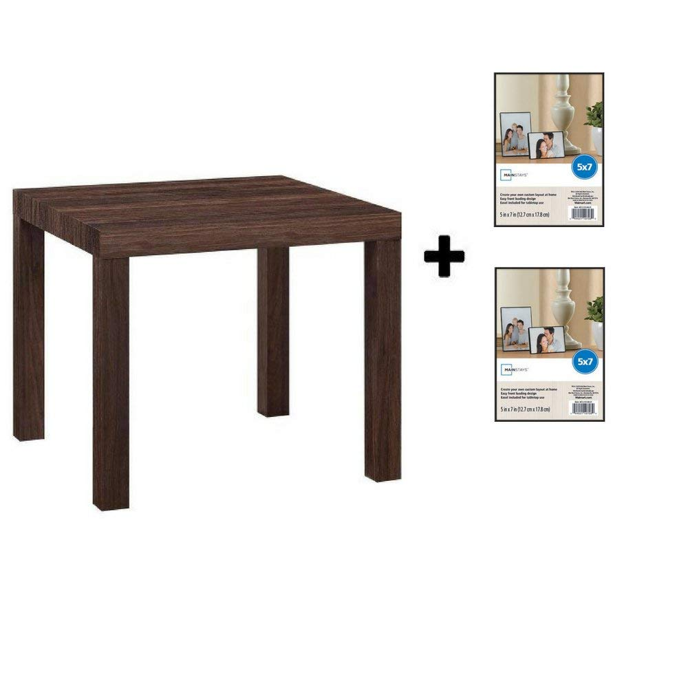 Mainstays Parsons Side End Table, Multiple Colors (Canyon Walnut with Frame)