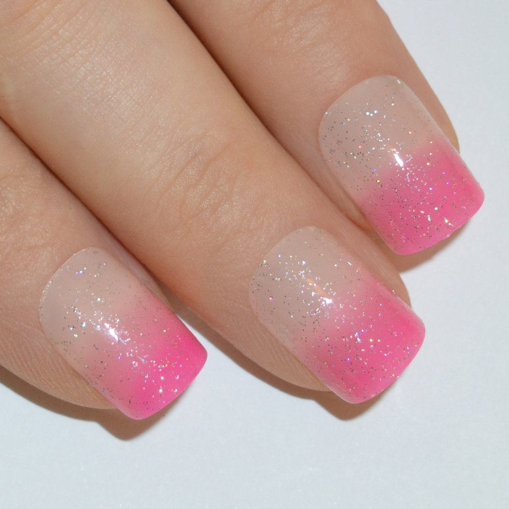Buy Bling Art False Nails French Manicure Pink Sparkle 24 Full Cover ...