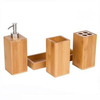 4 Stks Fancy Natuurlijke Houten Bamboe Badkamer Accessoires Set ...