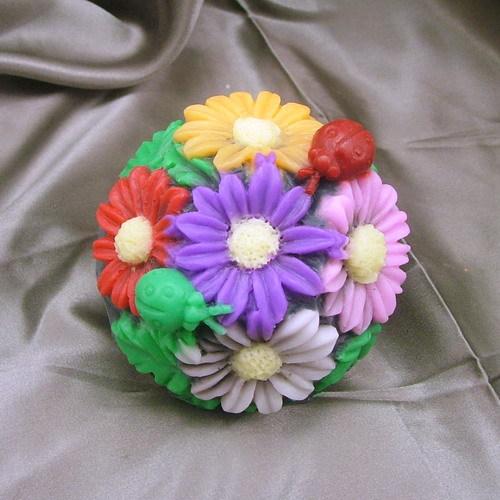 Decorative Soap Balls: H0183 Flexible Handmade 3D Flower Ball Decorative Natural
