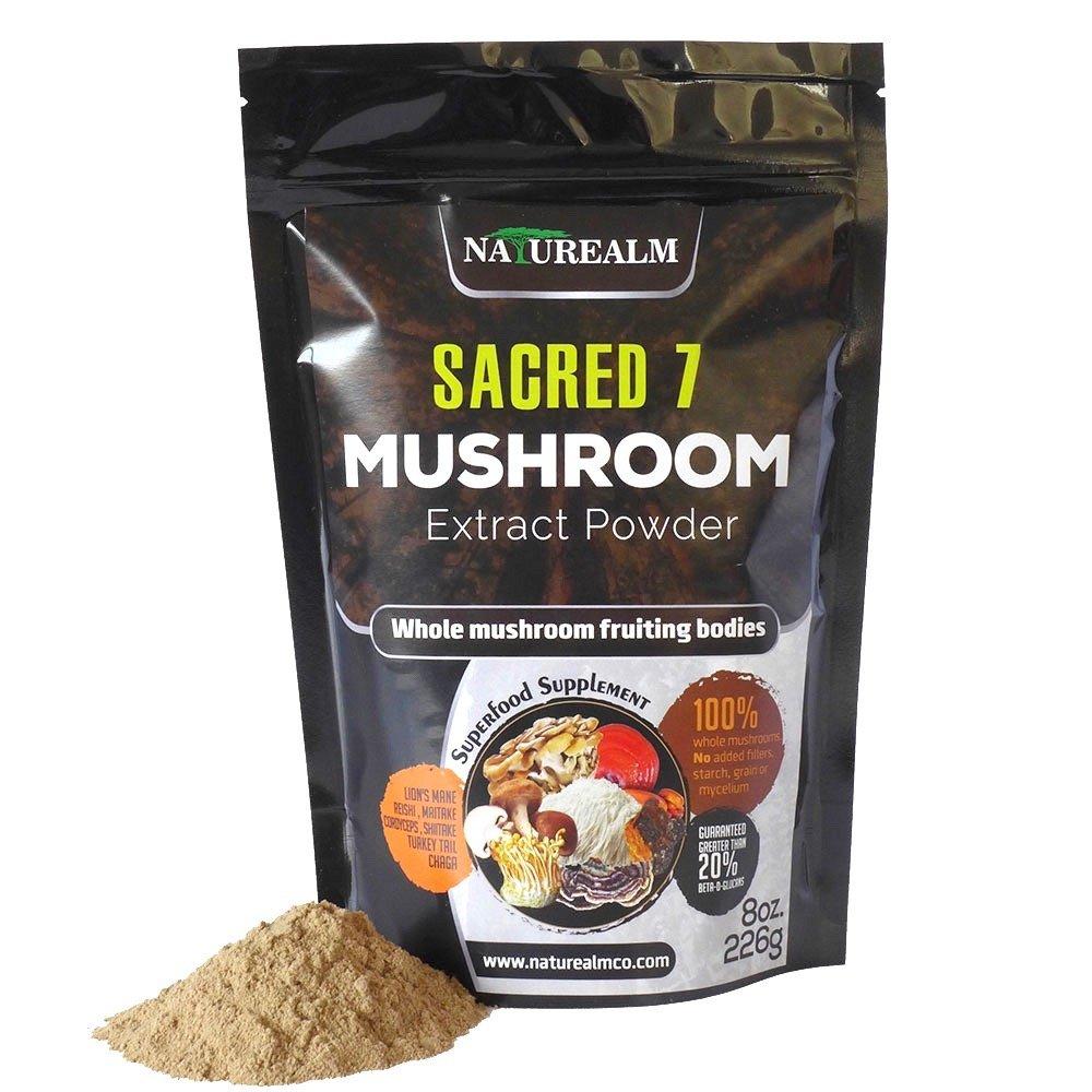 Sacred 7 Organic Mushroom Extract Powder - Made with Whole Mushrooms, Reishi, Maitake, Cordyceps, Shiitake, Lion's Mane, Turkey Tail, Chaga - 226g - Supplement - Add to Coffee/Tea/Smoothies