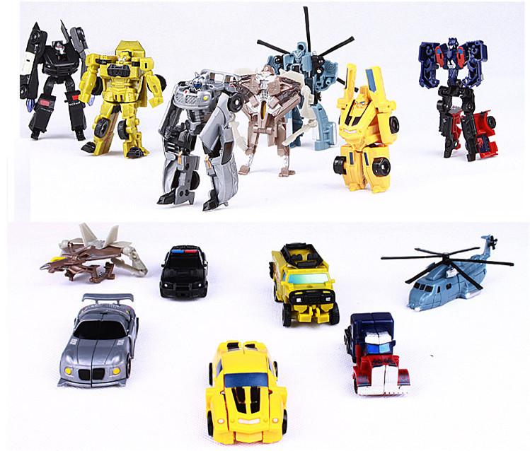 7pce set high quality Transformation robot 10cm anime action figure robot car kids toy brinqedos juguetes