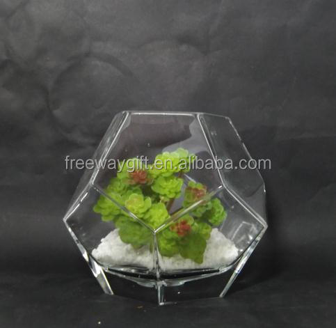 square clear glass flower pot hurricane decoration crystal beads vase
