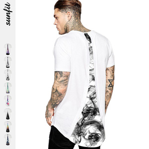 Men's Fashion Street Style White T-shirt Casual Knit T-shirt Back with Printing