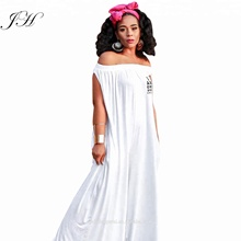 Hot Verkoop Mode Witte Katoen Printing Letter Gaucho Styled <span class=keywords><strong>Jumpsuit</strong></span> Off-Shoulder Losse <span class=keywords><strong>Jumpsuit</strong></span>
