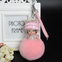KIKI sleutelhanger real rabbit bunny fur pom pom keychain Crystal cartoon Dolls pompom Key chain Woman bag car Charm pendant